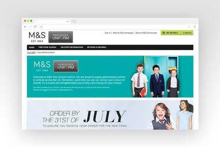 Web design for M&S Your School Uniform