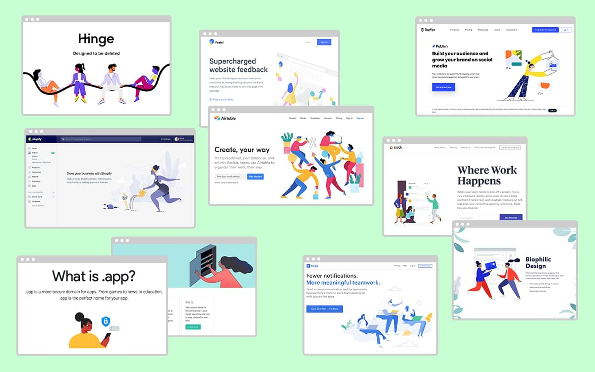 Examples of gangly-armed tech illustrations