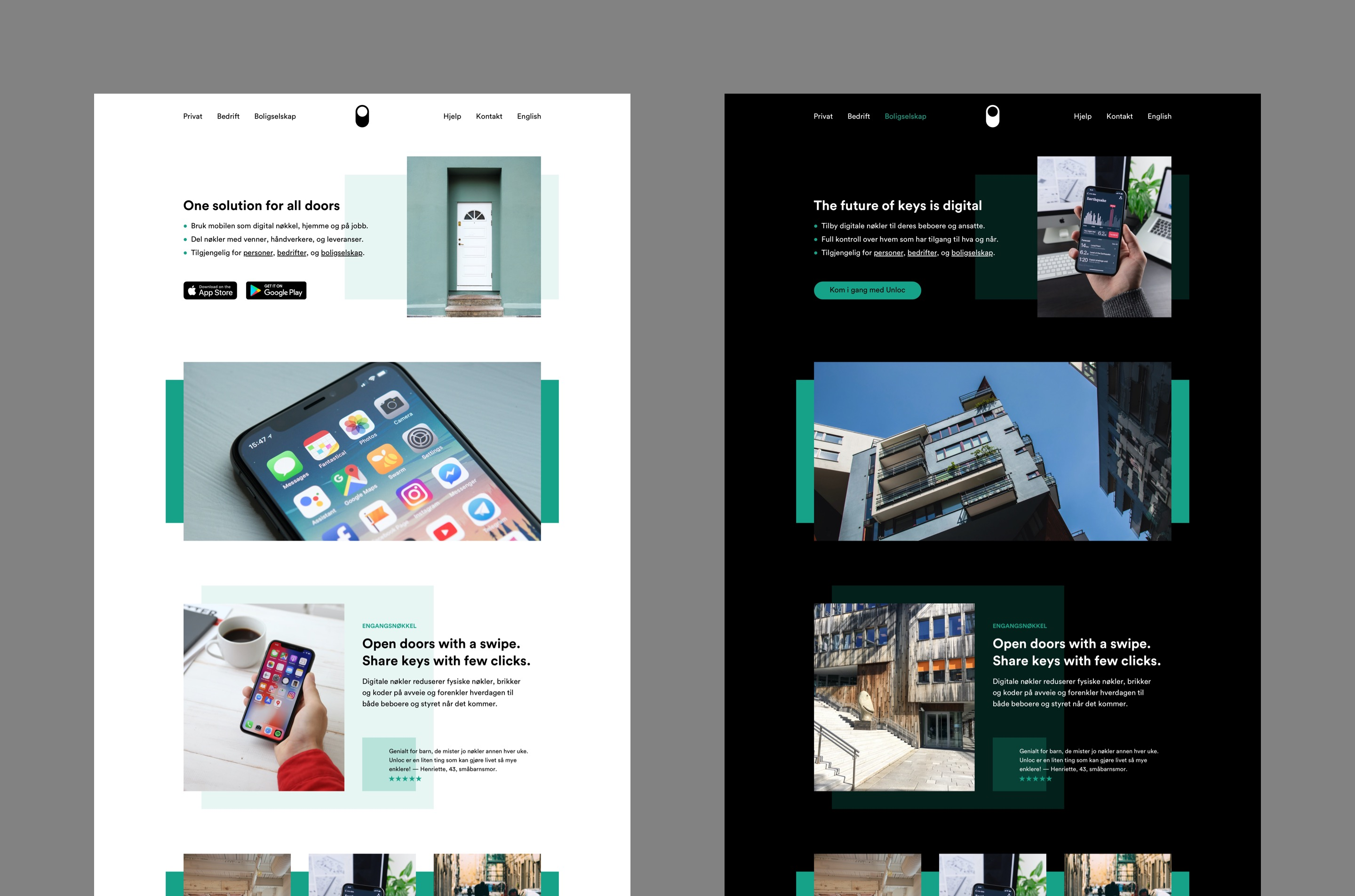 Landing page variants in light and dark modes