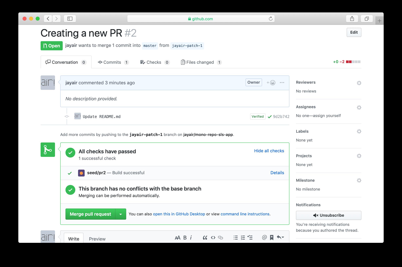 GitHub PR Seed status check completed