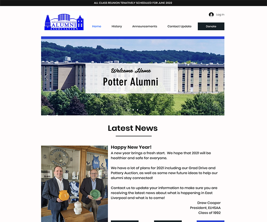 A screenshot of East Liverpool High School Alumni Association official website, one of the greatest and largest communities of alumni within the United States.  Proudly developed by LC3 Creative.