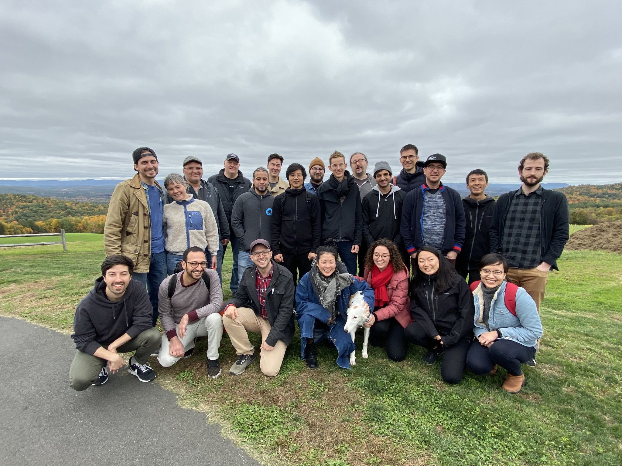 A group photo at the attendees at David Jonathan Ross's open house. Photo taken at Apex Orchards, courtesy of Matthew Rechs