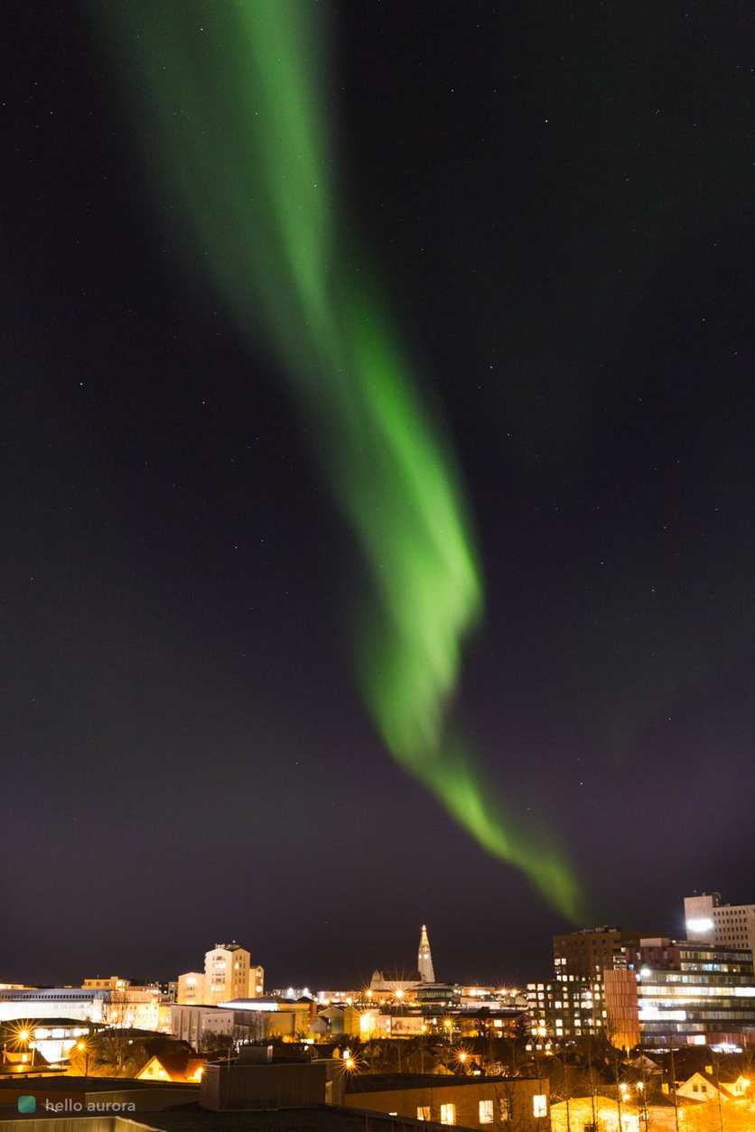 Aurora can be seen in the city when the activity is strong