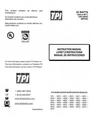 TPI Plastics 25 Watts Instruction Manual preview