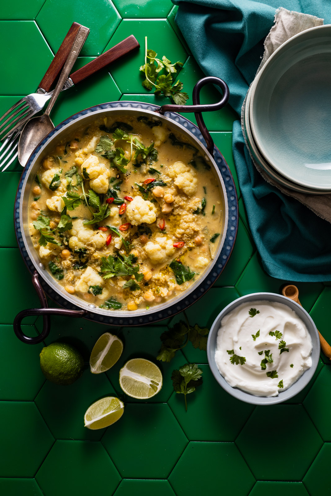 One Pot Cauliflower Dal and Quinoa Green Curry