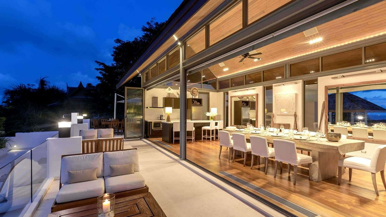 A villa in Phuket at twighlight showing lighting design