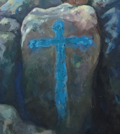 painting of blue cross painted on a rock in foreground with Sandgate beach coastline stretching behind