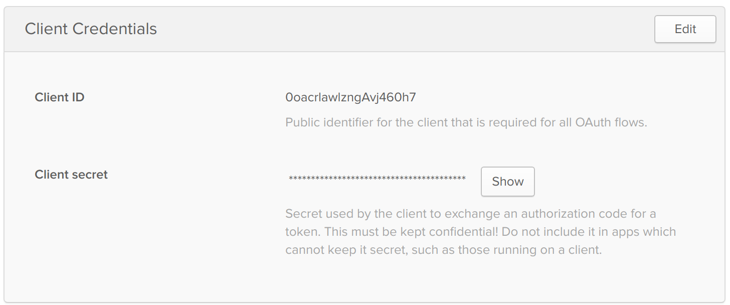 Okta App Credentials