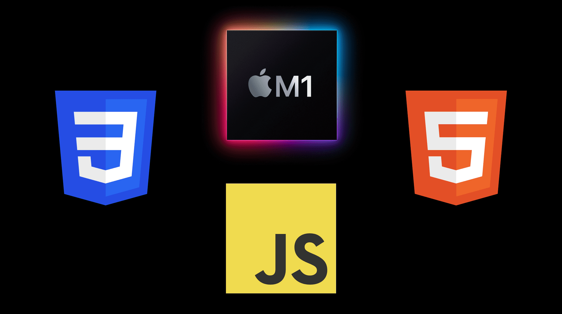 4 logos in a diamond layout on a black background. In a clockwise direction starting from the top, the M1 chip, HTML5, JacaScript, CSS3