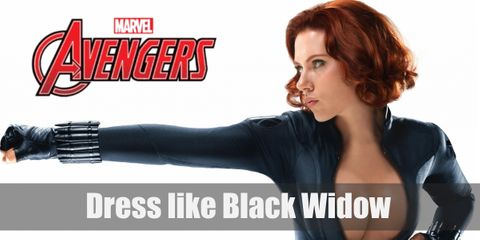 For Black Widow's iconic look, she's known for her scarlet-red hair and a black leather outfit.