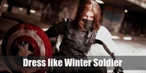 Winter Soldier's signature look includes a dark leather outfit and, the most important part, his cybernetic right arm.
