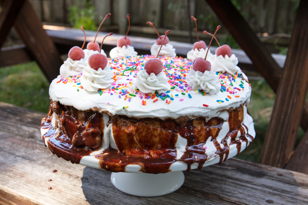 Vegan Banana Split Ice Cream Cake