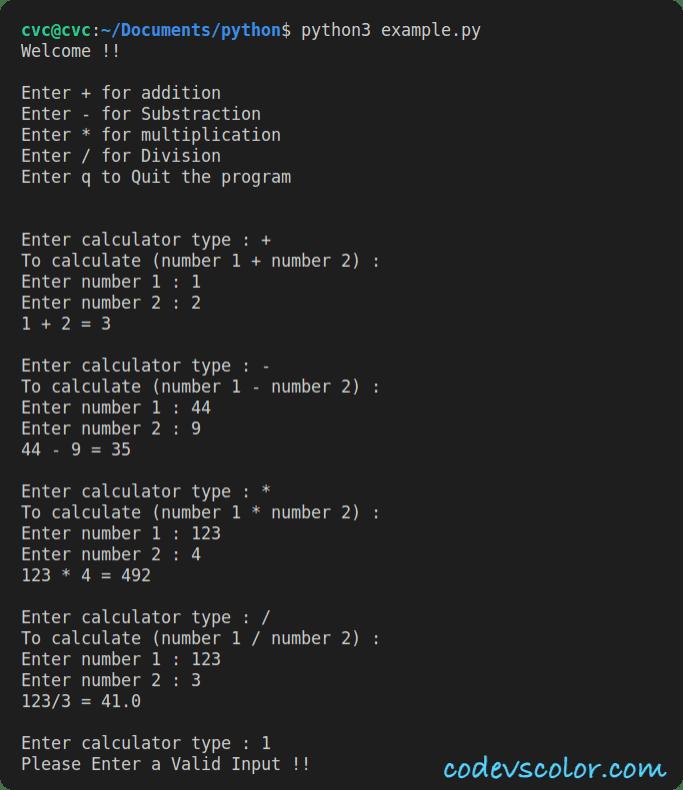 python calculator example