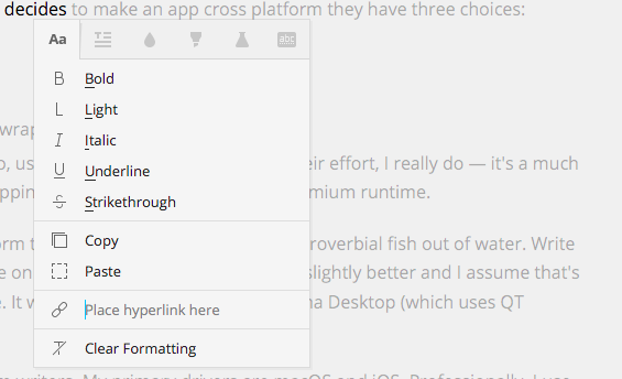 Write's powerful and convenient context menu