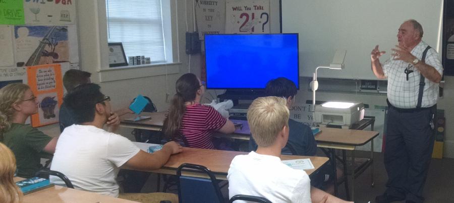 Mr. Sabbadino teaches a class