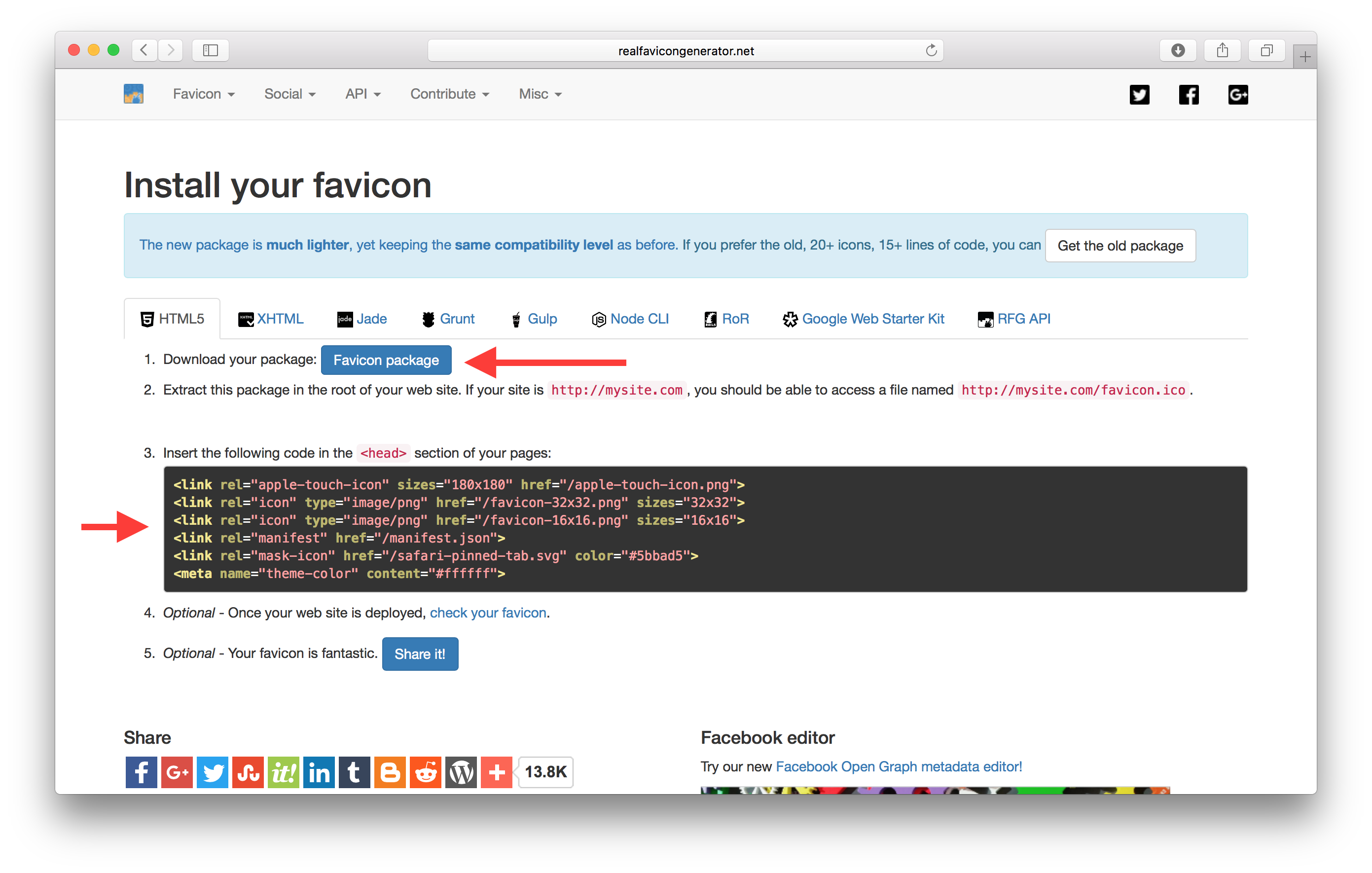 Realfavicongenerator.net completed screenshot