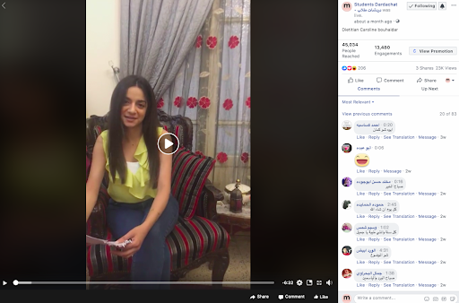 Batoul Outhman running a Facebook Live session