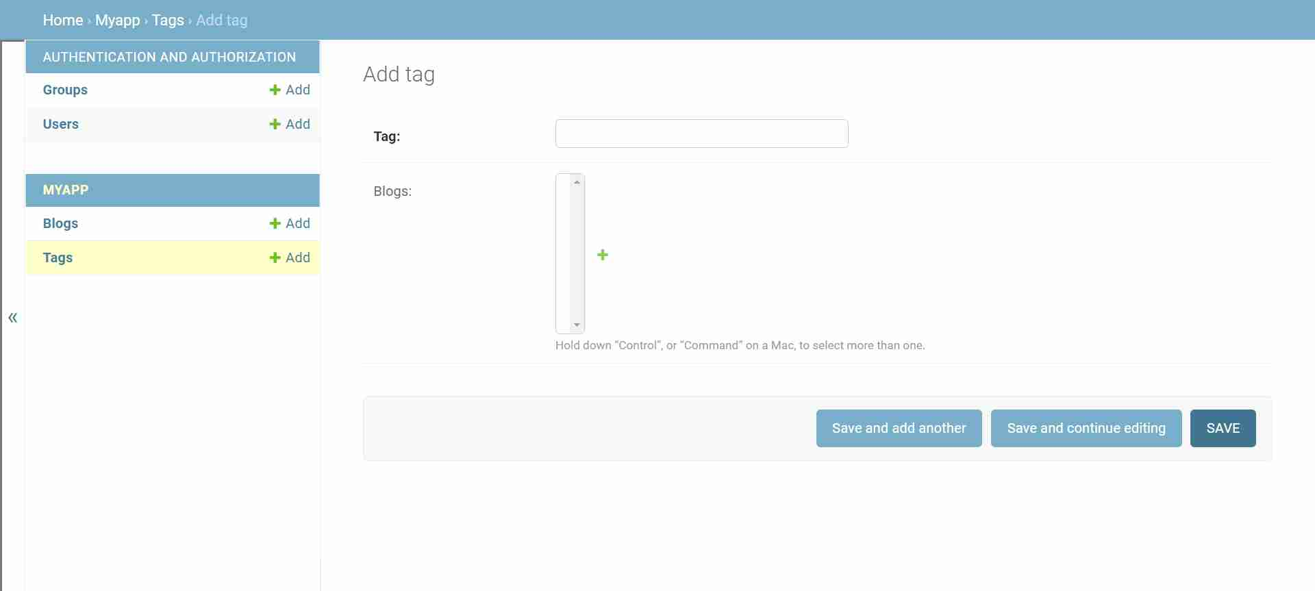 Create New Mode for Tag Model in Django Admin Interface