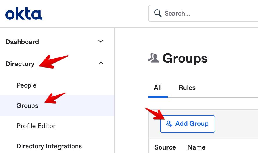 Okta Admin Console - Add Group