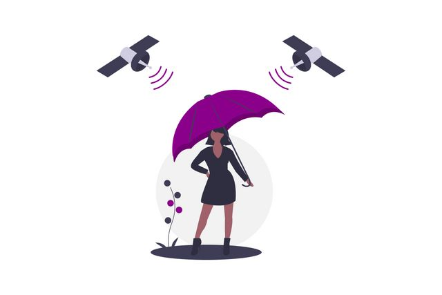 Woman with an umbrella as a symbol for data privacy