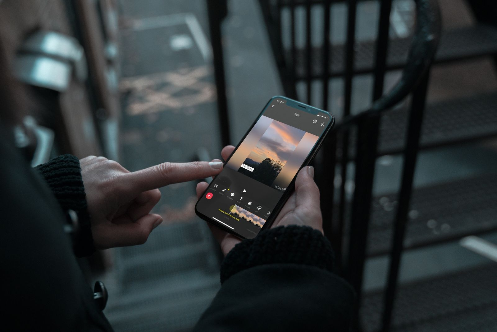 Person watching a video on phone