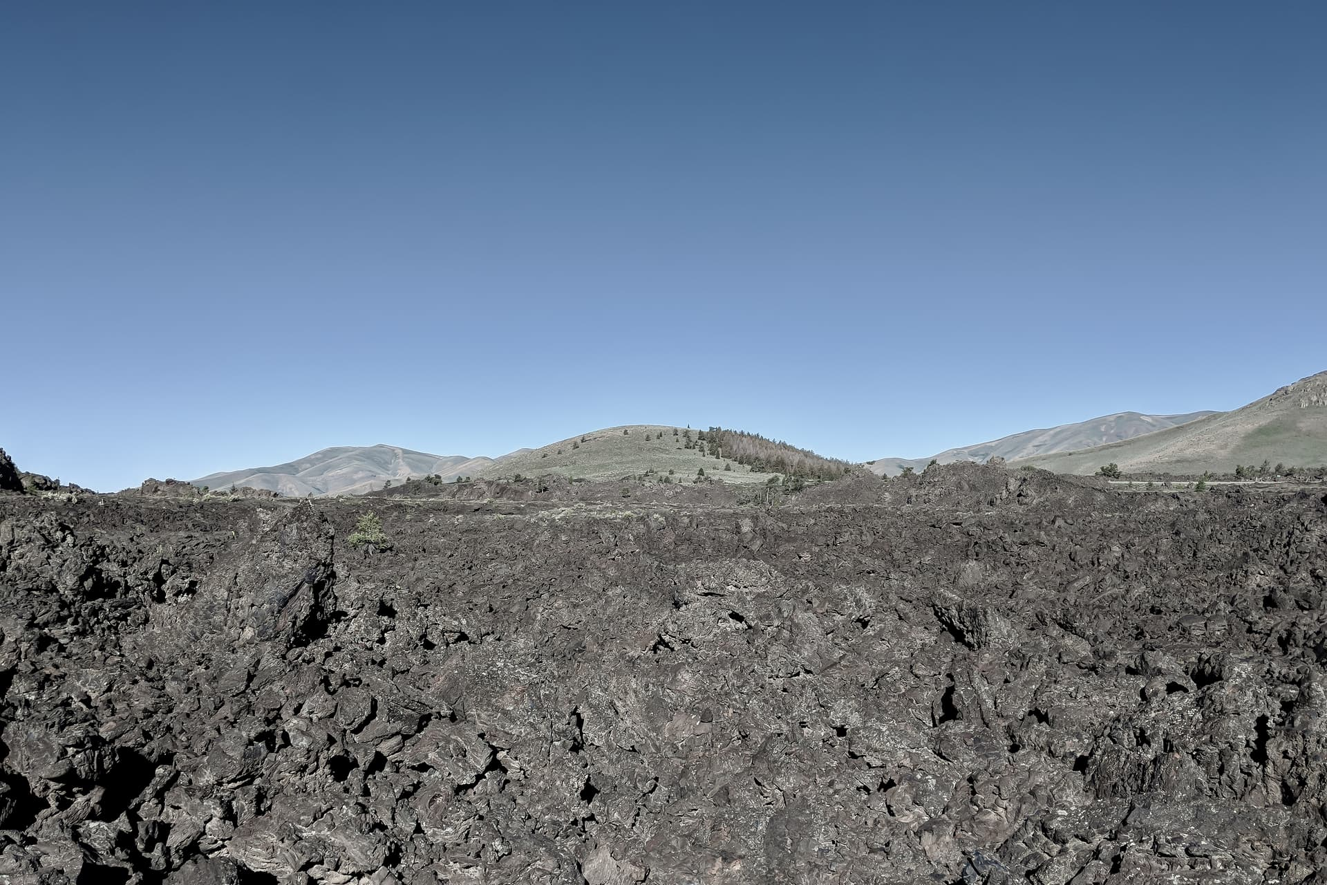 A black, jagged lava field. In the distance are a set of low, scrub- and pine-covered rises of obvious volcanic origin.