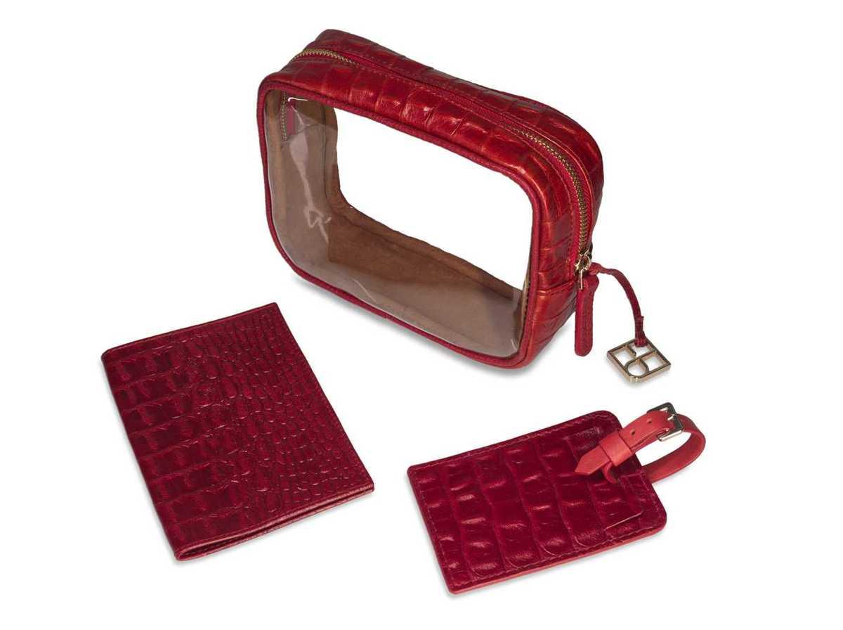 3-Piece Travel Set - croc red