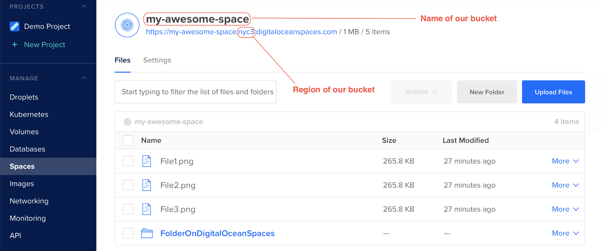 Step 7 (Name and Region of Bucket) - DigitalOcean Spaces Credentials