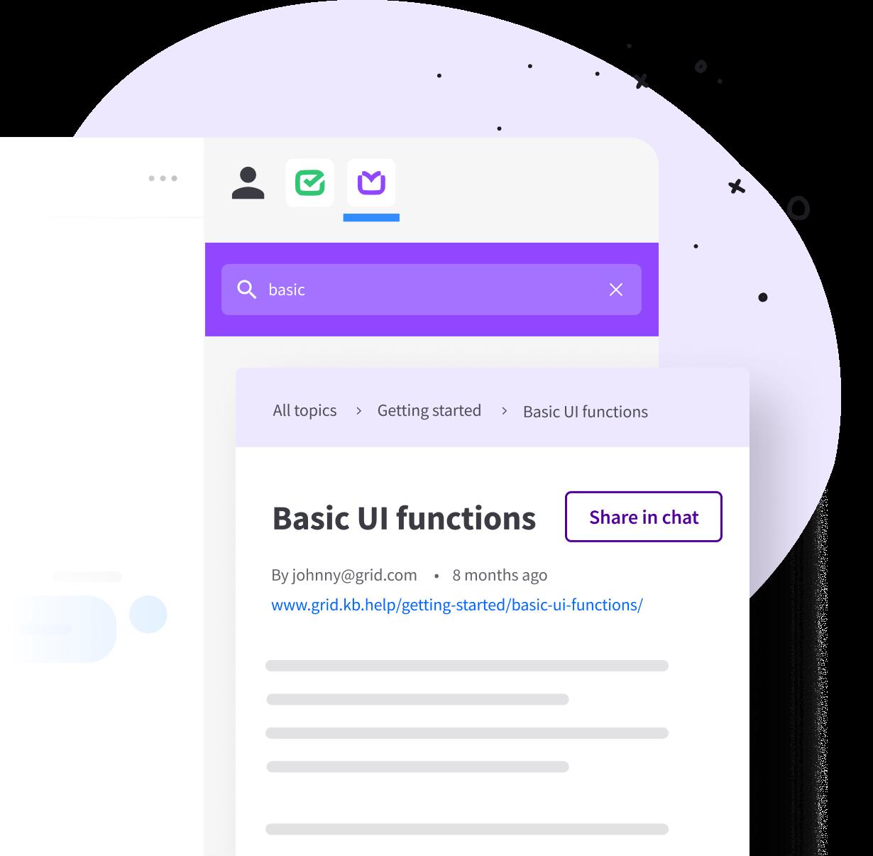 KnowledgeBase inside LiveChat Agent app