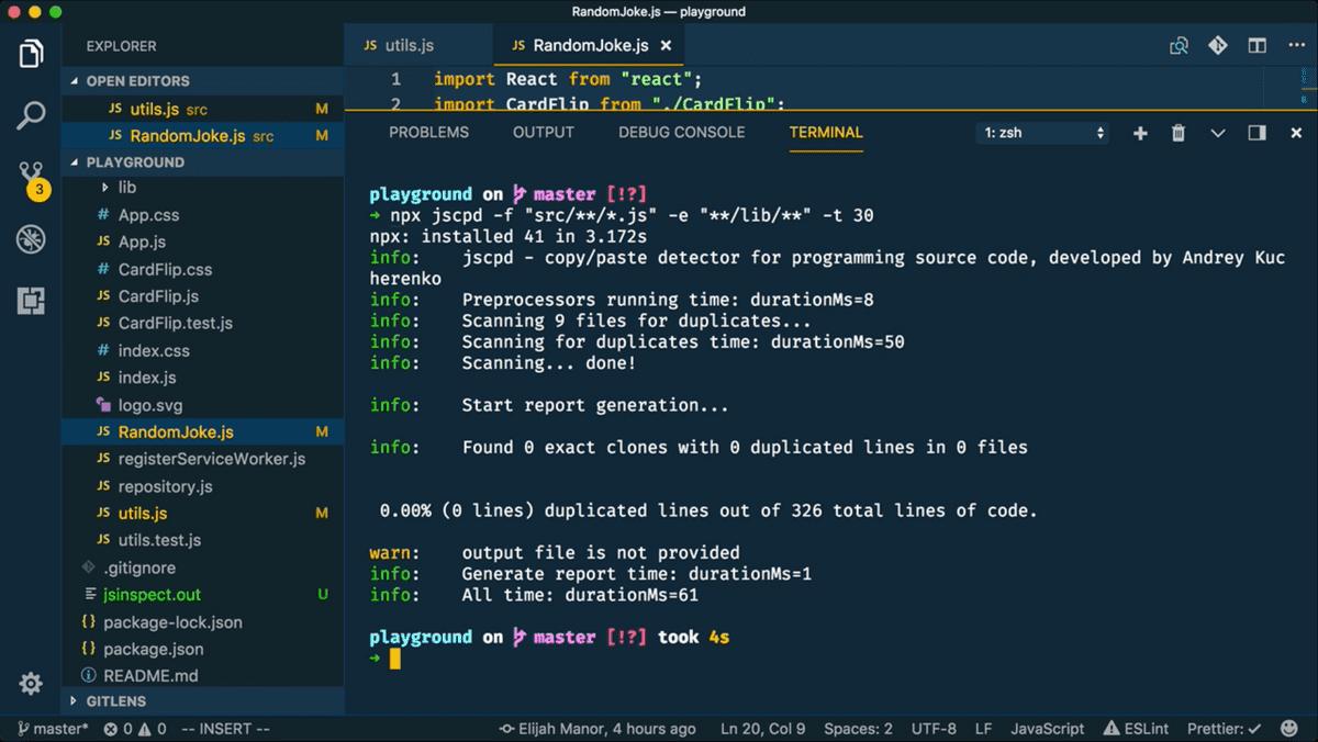 screenshot of jscpd on npm