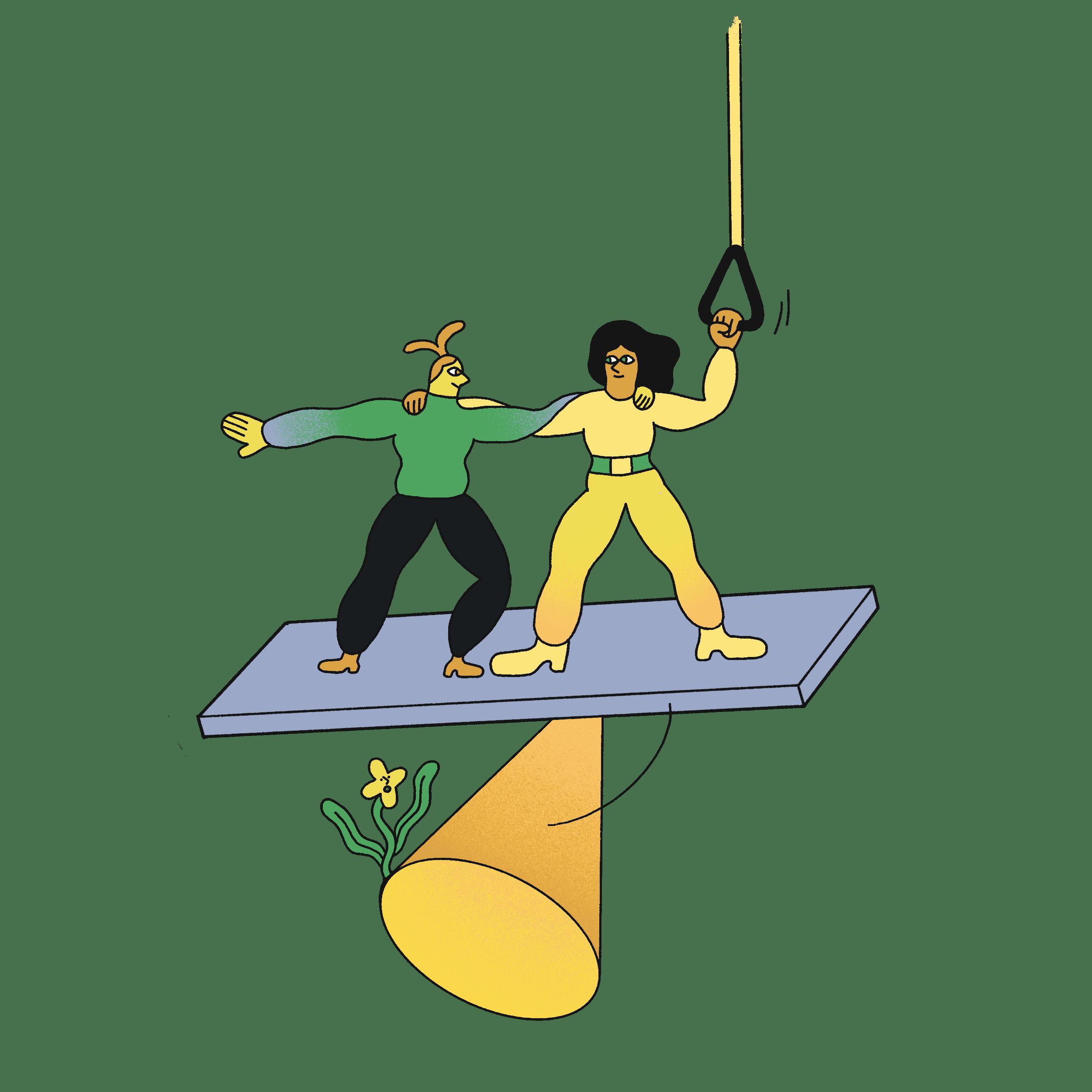 Zwei Personen balancieren sich gegenseitig aus