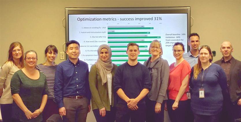 Image présentant 11 personnes debout devant un écran montrant les données d'amélioration.