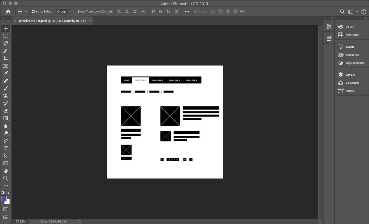 Low-fidelity website wireframe on Photoshop