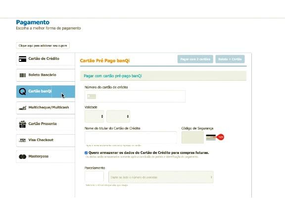 """Quando for direcionado à página de pagamento, toque em """"cartão banQi""""."""
