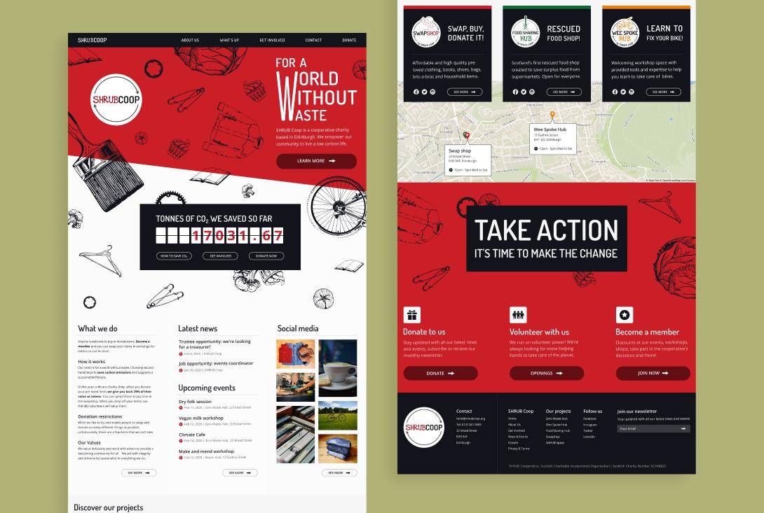 Desktop landing page mockup of SHRUB Coop website top and bottom