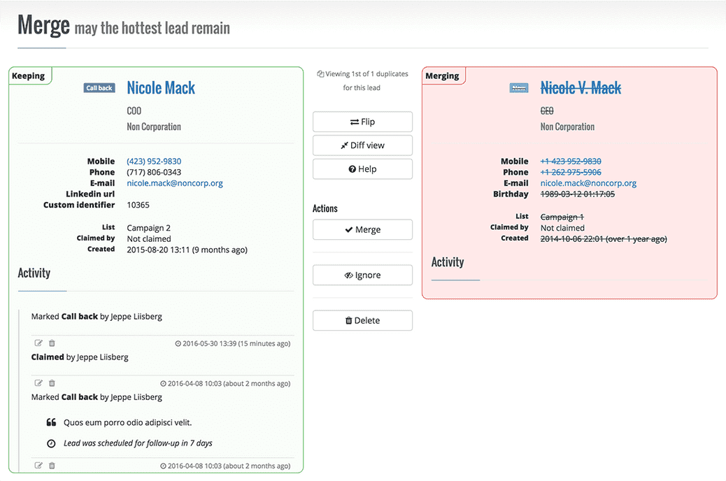 The detailed merge view lets you easily compare and merge two leads