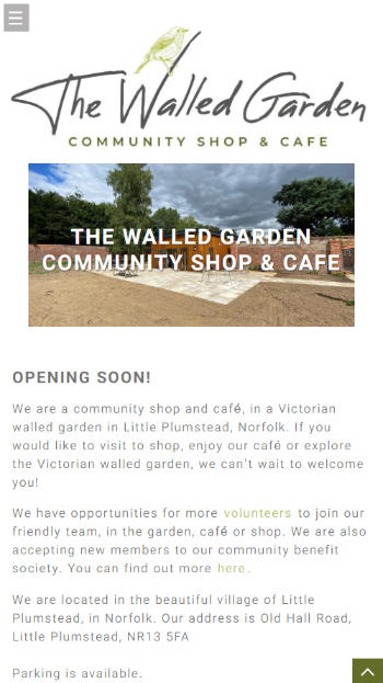 The Walled Garden Shop & Cafe website frontpage on a mobile