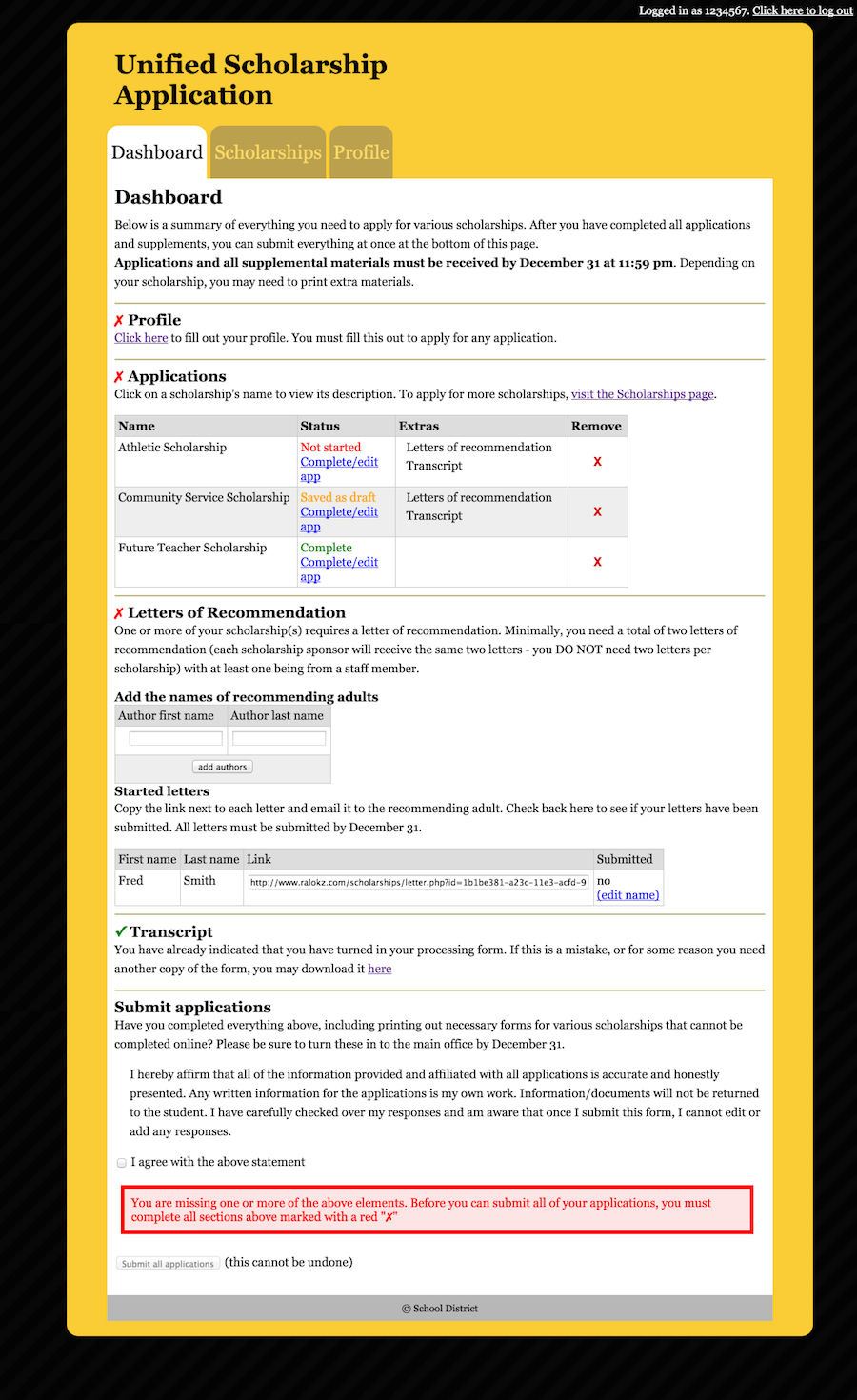 A dashboard that shows information about the user's profile, a list of scholarship applications with thei status for each, a list of letters of recommendation, the status of the user's transcript, and a tool to submit all applications.
