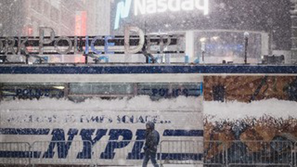 A police department station of NYPD on a snowy night