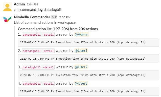 Slack slash command that shows which Slack users are running your Datadog billing info command on Slack.