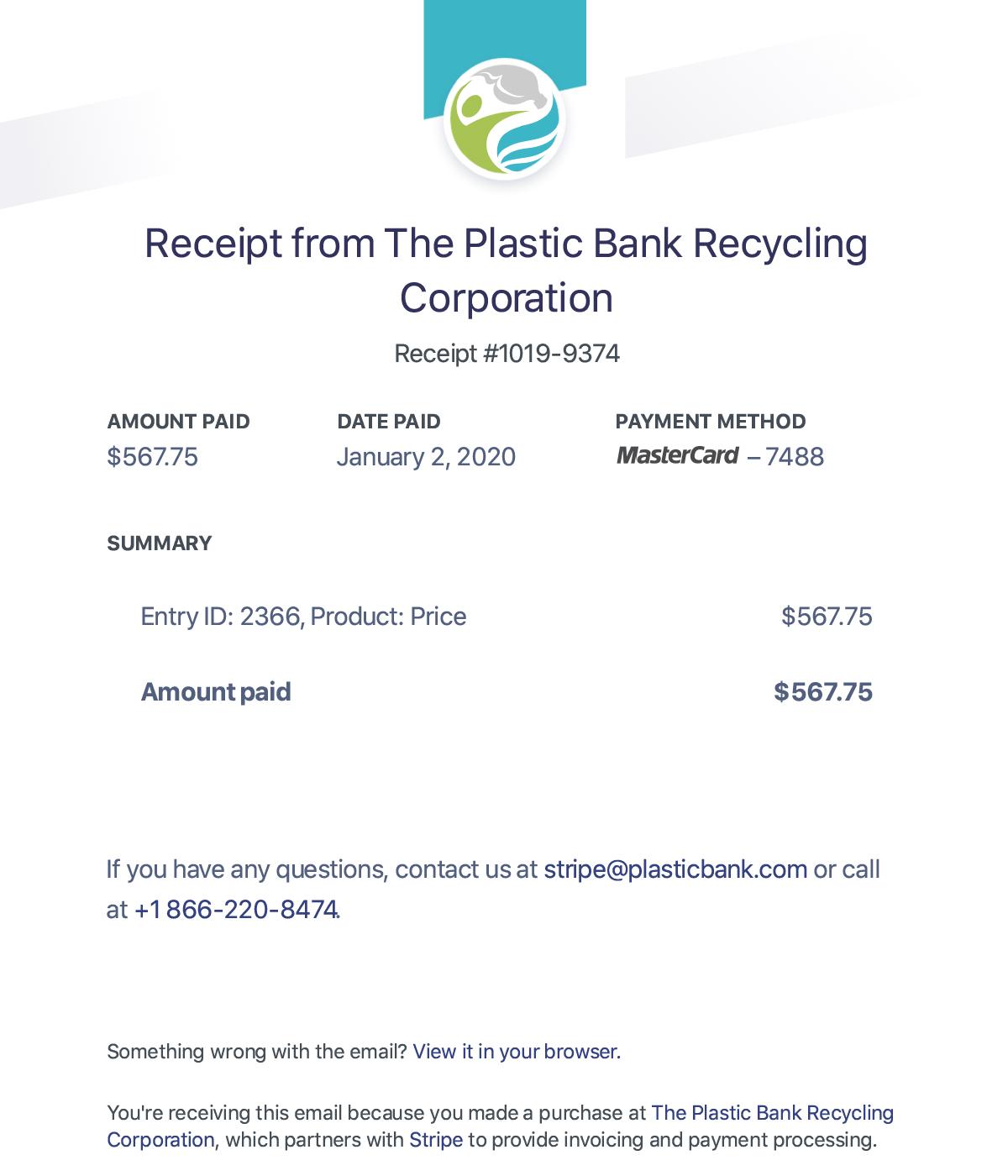 plastic bank receipt