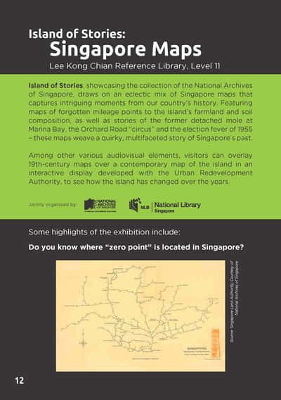 The introductory page for Island of Stories: Singapore Maps, describing its theme. A Singapore map from the Singapore Land Authority is also featured.