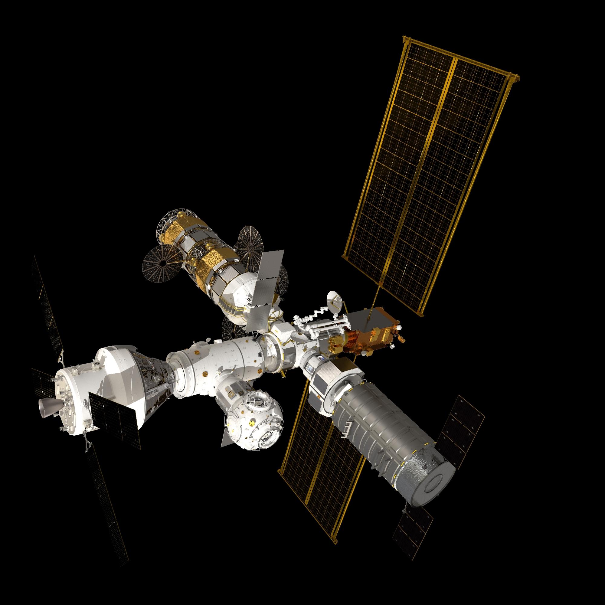 Imaginea 2: Reprezentare grafică a viitoarei stații spațiale lunare Gateway, împreună cu capsula Orion andocată (sursa foto: ESA)