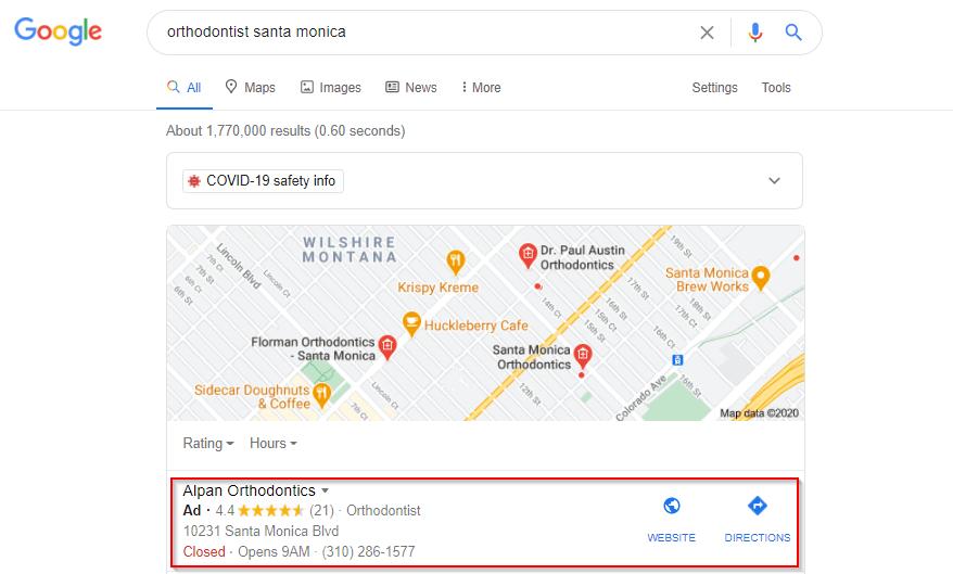 Google ads for orthodontic