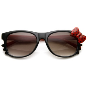 Hello Kitty Black Double Red Polka Dot Bow Sunglasses