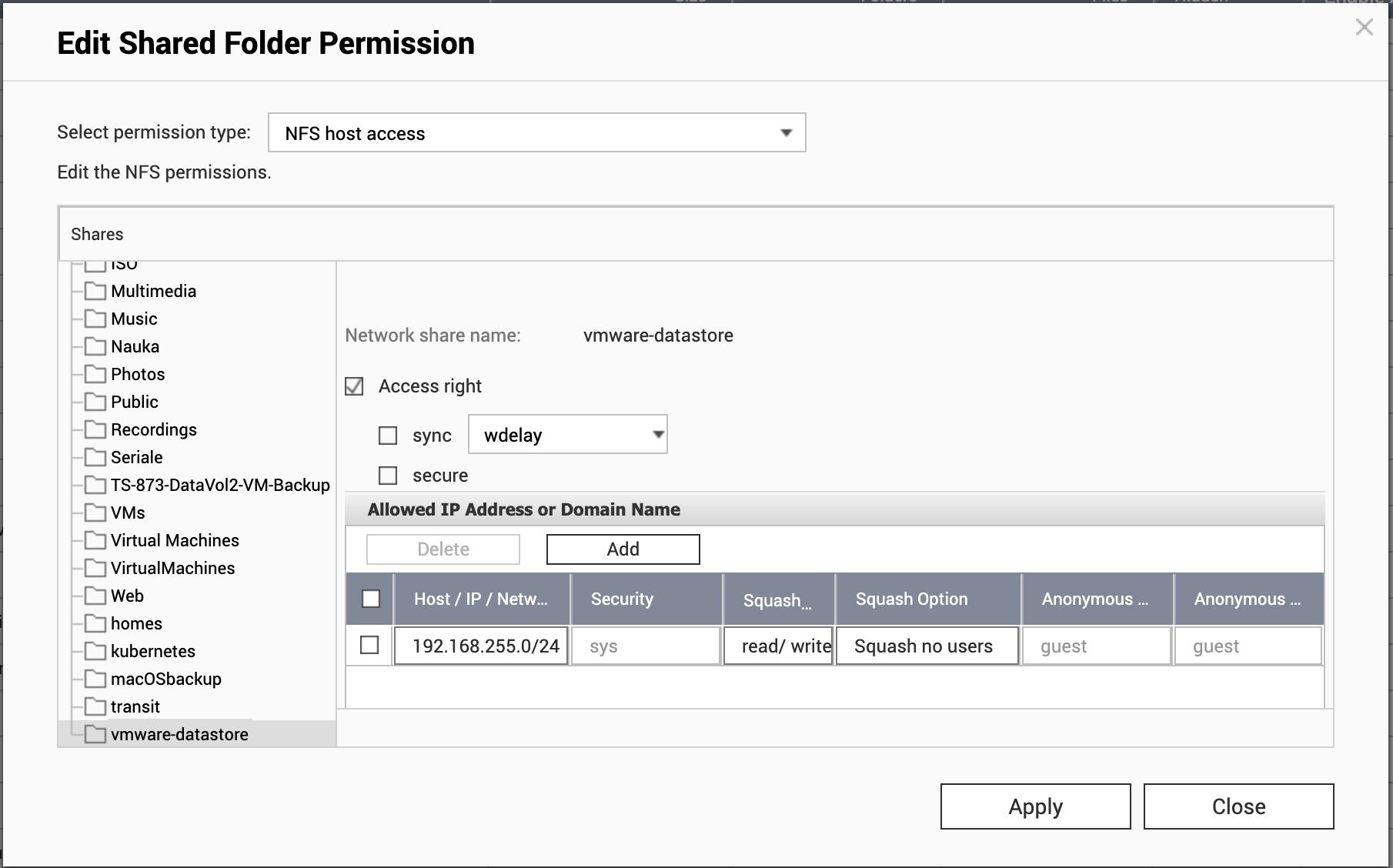 QNAP NFS permissions