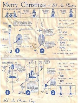 Bel Air Plastics Nativity Set #PD 100, Giant Santa Claus #200, Choir Boy #800B, Choir Girl #900G, Lantern Lamp #180 & 1 other Instruction Manual.pdf preview
