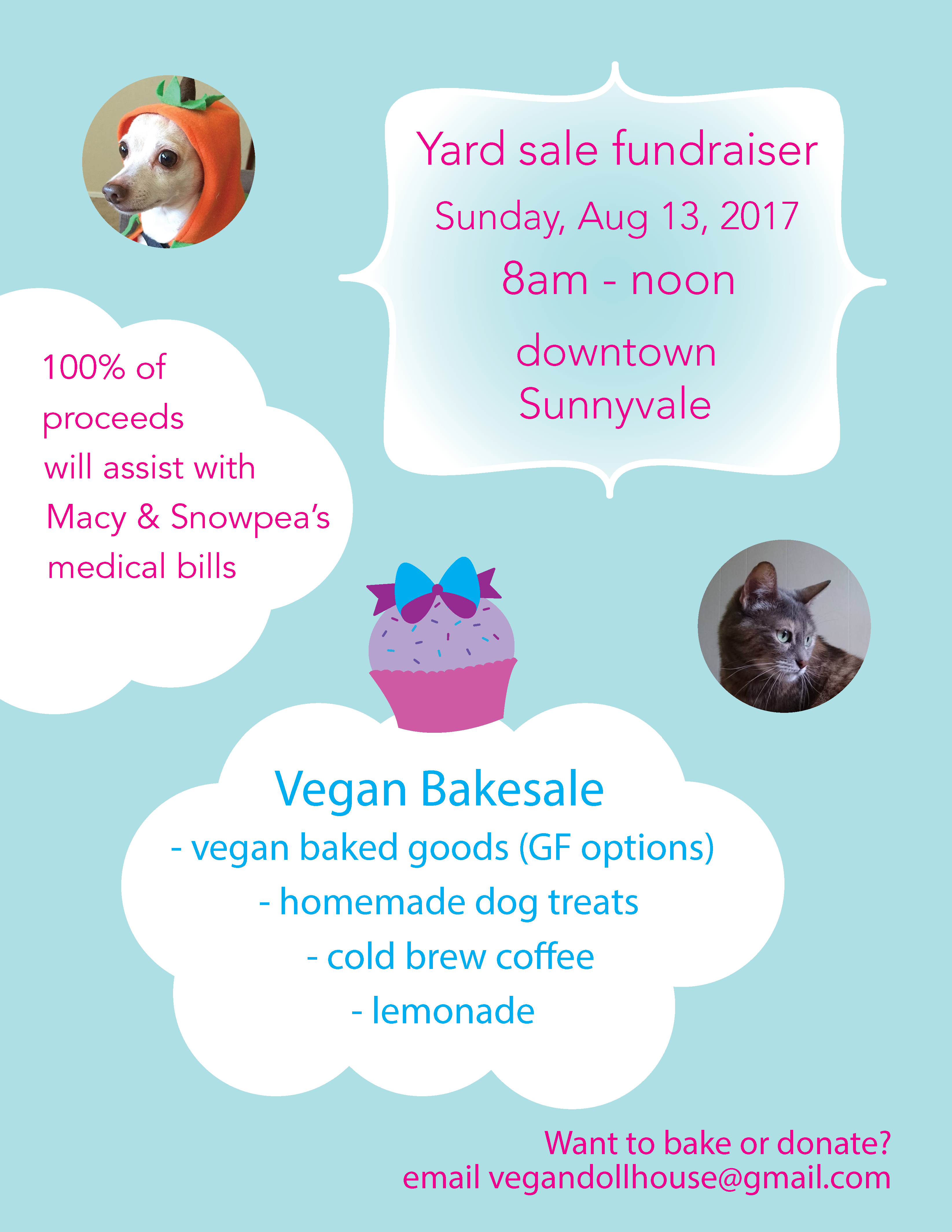 flier for yard sale and vegan bake sale on August 13, 2017