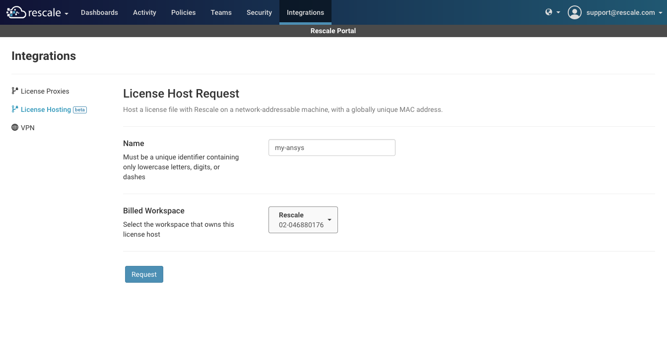 license-host-request