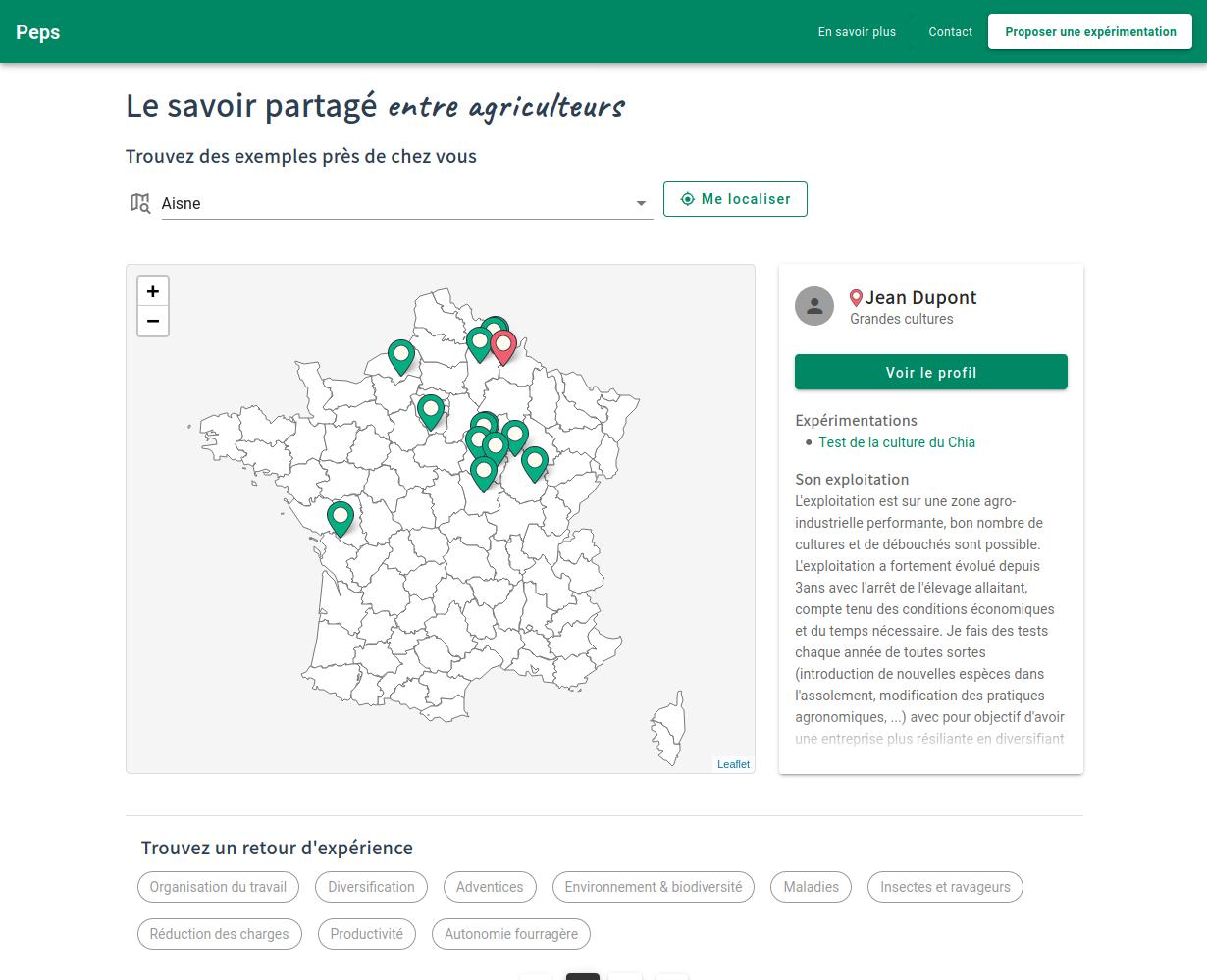 Présentation des expériences d'agriculteurs sur une carte de France Métropolitaine. À droite, une fiche présentant un résumé de l'exploitation de l'agriculteur